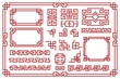 Chinese frames. Asian new year decorative square borders, red traditional oriental graphic patterns vintage art vector set