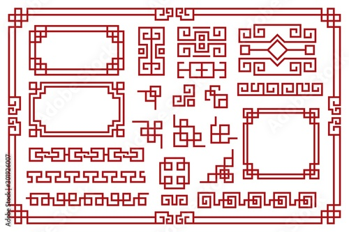 Obraz Chinese frames. Asian new year decorative square borders, red traditional oriental graphic patterns vintage art vector set - fototapety do salonu