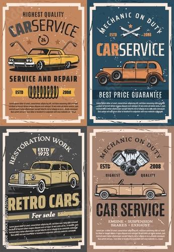 Plakaty motory   retro-samochody-z-czesciami-zamiennymi-serwis-garazowy