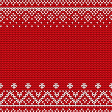 Embroidery Pattern Vector. Red And White Embroidered Decoration, Closeup Of Stitches Ornaments. Ornamental Decor Of Fabric Or Cloth. Xmas Theme With Geometric Shapes And Forms Flat Style Illustration