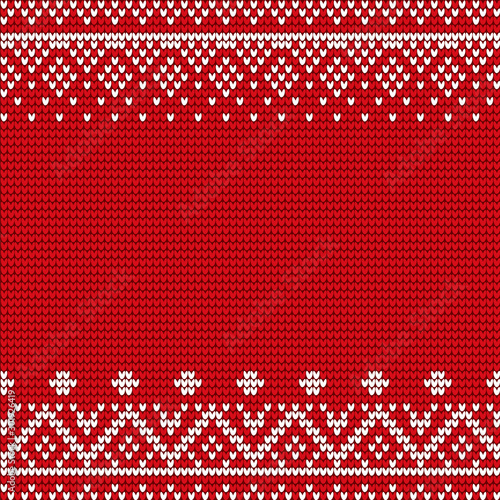 Türaufkleber Künstlich Embroidery pattern vector. Red and white embroidered decoration, closeup of stitches ornaments. Ornamental decor of fabric or cloth. Xmas theme with geometric shapes and forms flat style illustration