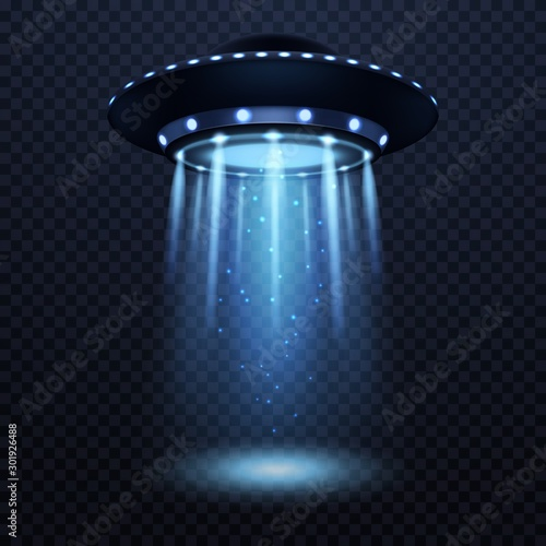 Obraz UFO. Realistic alien spaceship with blue light beam, futuristic sci fi unidentified spacecraft isolated 3d vector illustration - fototapety do salonu