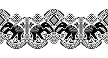 Seamless Traditional Black And White Asian Elephant Border Design