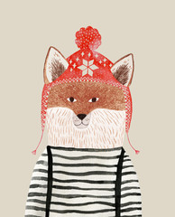 pencil and watercolor drawing of a fox in a winter hat