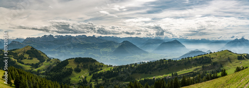 Panoramic view on beautiful Swiss Alps surrounding Lake Lucerne