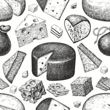 Cheese Seamless Pattern. Hand ...