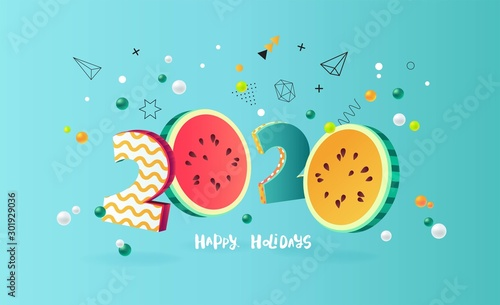 Happy new year 2020 holiday background with 3d numbers 2020 in juicy colors. Vector illustration - 301929036
