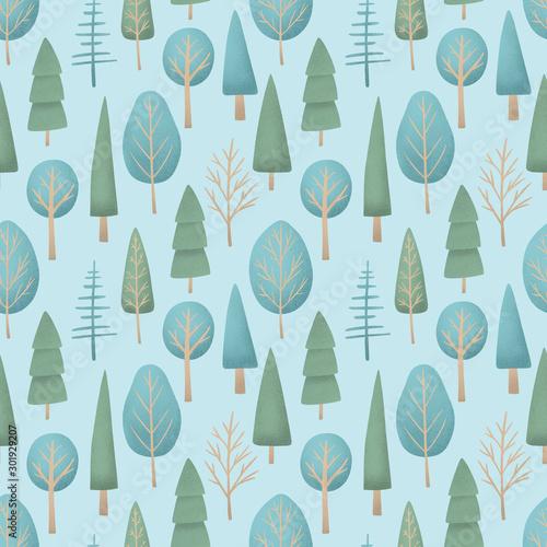 zim-drzew-bezszwowa-deseniowa-ilustracja