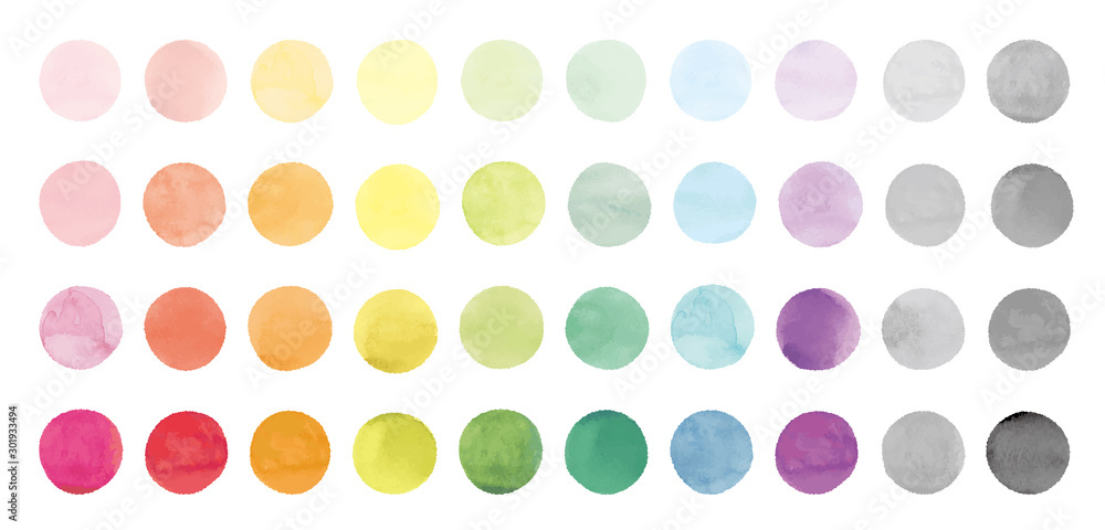 Vector set of rainbow watercolor circles. 水彩のベクター円形セット
