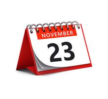 3D Rendering Of Red Desk Paper November 23 Date - Calendar Page
