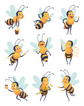 Honey Bee. Cartoon Characters Flying Nature Insect In Different Poses Delivery Bee Vector Mascot. Flying Bee Insect, Mascot Pose Beekeeping Illustration