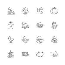 Farm Icons. Agricultural Objec...