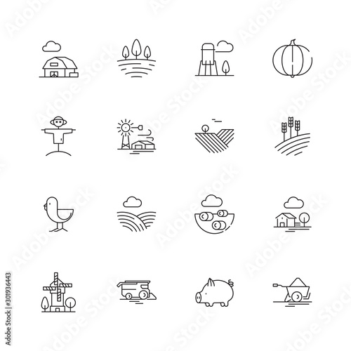 Obraz Farm icons. Agricultural objects agrarian farm fields landscape rural specific vehicle tractor vector thin line symbols. Illustration agrarian vehicle, agriculture farmland - fototapety do salonu