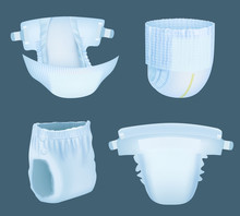 Diaper Realistic. Baby Comfortable White Softly Layered Incontinence Diapers For Pee Absorbent Vector Templates Collection. Soft Diaper Comfortable, Realistic Absorbing And Safety Illustration