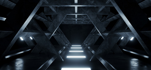 Triangle Shaped Cement Concrete Underground Structures Construction Tunnel Corridor Dark Empty Night Sci Fi Futuristic Led Lights White 3D Rendering