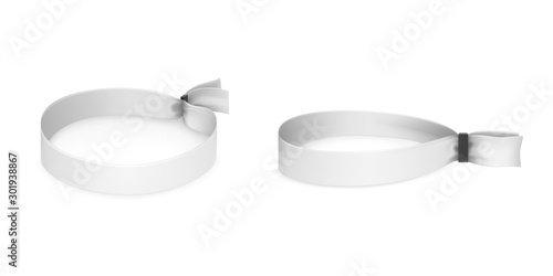 Valokuva Festival party fabric wristbands with black plastic lock isolated on white background