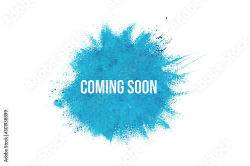 Coming soon on blue paint background, isolated on white Canvas Print
