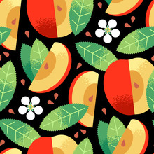 Seamless Pattern Of Textured Ripe Red Apples Fruit, Apple Flower, Leaves, Seeds On Black Background