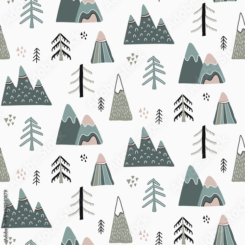 Vector Christmas seamless pattern in scandinavian style. Tableau sur Toile
