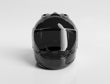 Black Motorcycle Helmet Isolat...