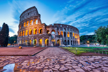 Illuminated Colosseum At Dusk,...