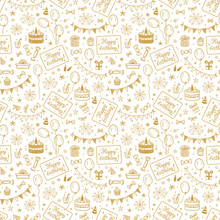 Birthday Party Seamless Pattern With Hand Drawn Doodle Birthday Cake, Sweets, Bunting Flag, Balloons, Gift Box And Other Party Supplies. Celebratory Background. Golden Holiday Wallpaper