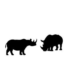 Silhouette Of Two Rhino. Rhino Family