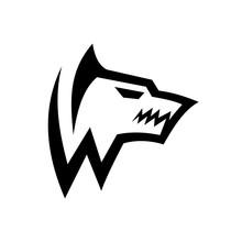 Masculine Initial W / Monogram Letter W Wolf Logo Design