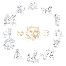 Zodiac Constellations With Dra...