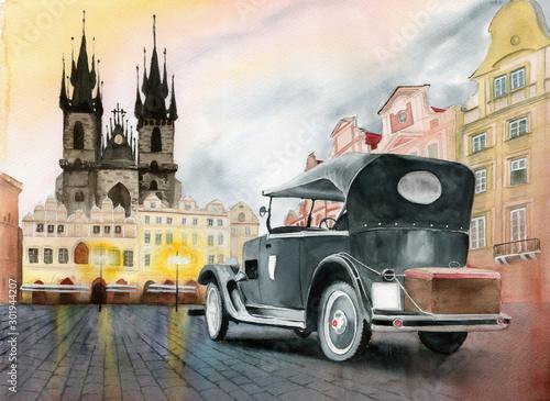 akwarela-obrazek-stary-retro