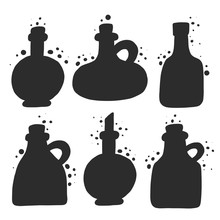 Different Oil Bottles Grunge Style Set. Vintage Glass Silhouette Collection With Splattered Ink Drops Effect. Kitchen, Menu, Poster Design Element