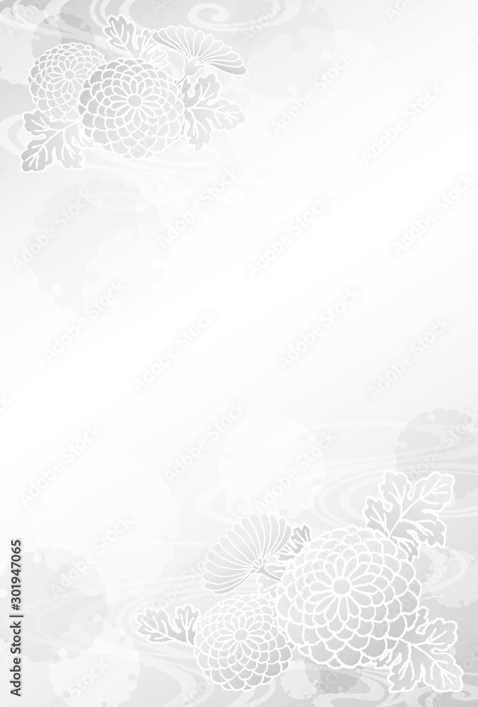 Fototapeta 喪中はがき 菊 雪輪 流水紋 手描き テンプレート