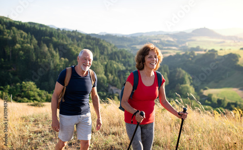 Senior tourist couple travellers hiking in nature, walking and talking Fototapete