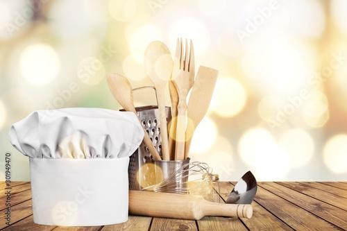Fotomural Set of kitchen utensils on background