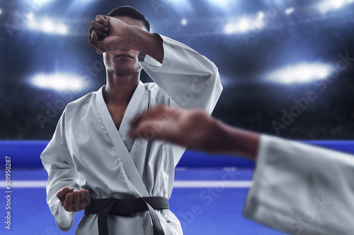 Karate martial arts fighting in arena Canvas Print