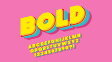 Vector 3d Bold Typeface Color ...