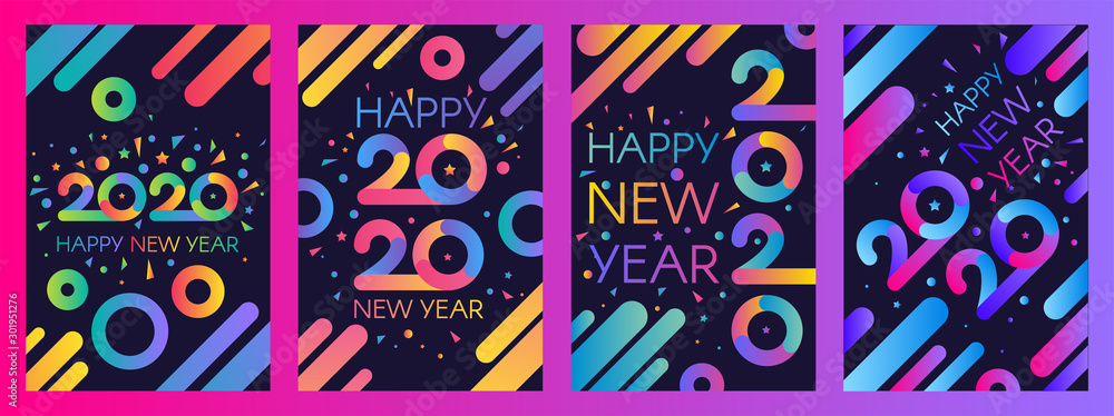 Fototapeta 2020 New Year vector poster templates set
