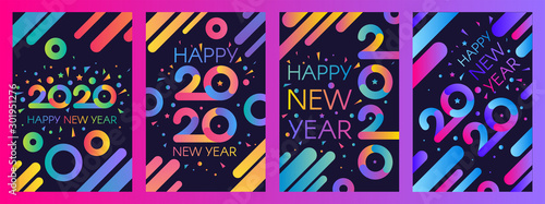 Fototapeta 2020 New Year vector poster templates set obraz