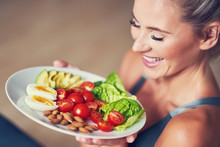 Adult Woman Eating Healthy Lun...