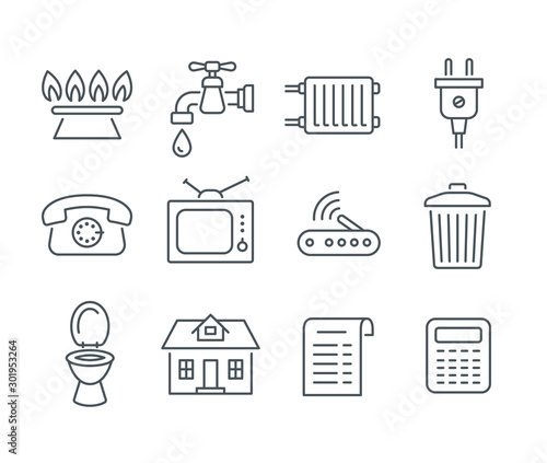 Household services utility bill icons. Vector flat thin line regular payments symbols such as gas, water, electric energy, heating, telephone, cable TV, Internet, garbage, sewage. Outline pictograms Wall mural