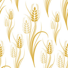 Seamless Pattern With Yellow Wheat Spikelets On A White Isolated Background. Vector Illustration