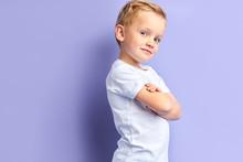 Side View On Cute Little Boy P...