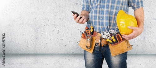 Obraz Worker and professional builder with tools - fototapety do salonu