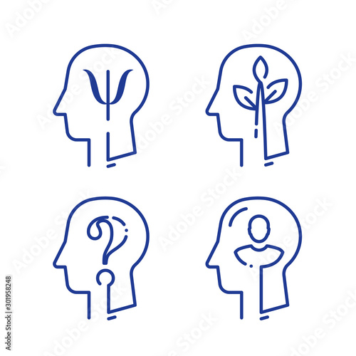 Fotografering Human head profile and psychology symbol, mental health, help and development