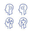 Human head profile and jigsaw puzzle, cognitive psychology or psychotherapy concept, mental health