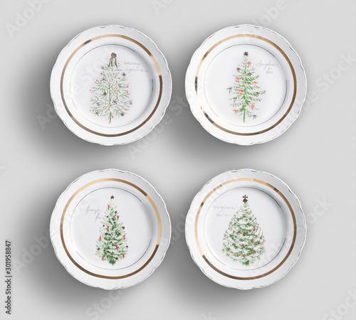 Set of 4 matching decorative plates for interior design - yellow waves Billede på lærred