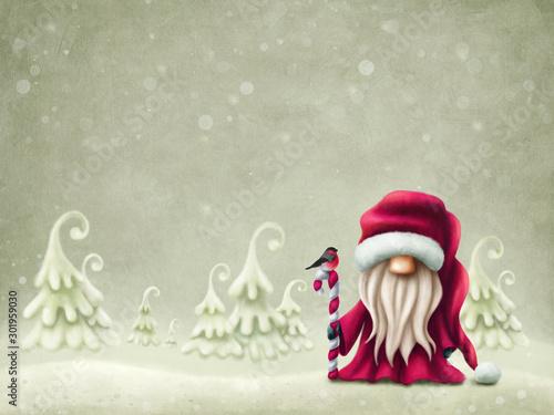 Vászonkép  Little cute santa