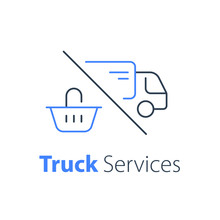 Shopping Order Delivery, Truck Distribution, Purchase Shipping, Basket Line Icon