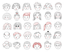 Sketch People Avatars. Female And Male Portraits, Human Faces, Men And Women User Profile Doodle Icons Vector Set. Male And Female Profile, Sketch User Person Illustration