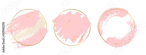 Gold pink background. Circle gold frames with pastel pink brushes elements. Vector brush strokes banners template. Illustration stroke pastel, splash brush watercolor